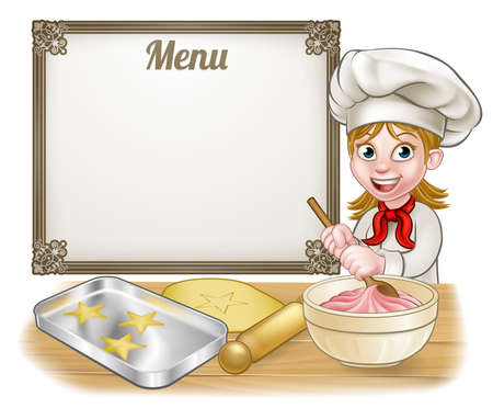 Woman baker or pastry chef cartoon character baking with a menu sign in the background
