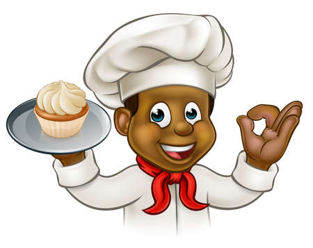 Un chef de bande dessinée pâtisserie noire ou boulanger caractère tenant une assiette avec un petit gâteau ou une fée gâteau sur elle