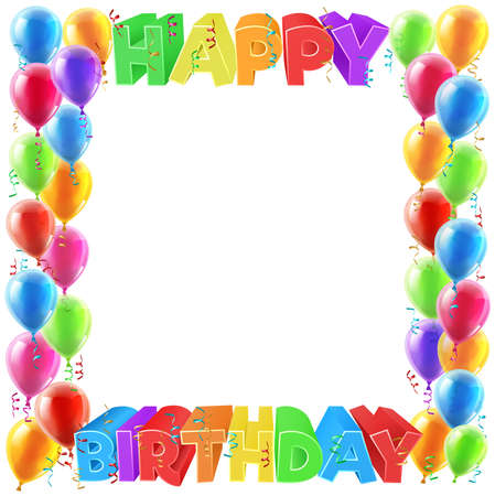 A balloons and Happy Birthday bright color word text sign invite border frame design