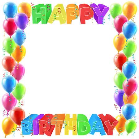 A globos y feliz cumpleaños brillante de color signo de texto invita a diseño marco de la frontera Foto de archivo - 70393965