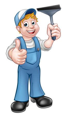 Un personaggio dei cartoni animati più pulito tuttofare Window Washer in possesso di un seccatoio e dando un pollice in alto