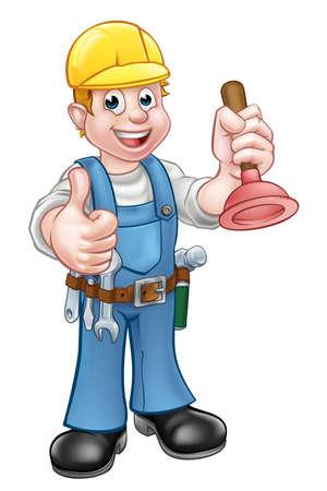Un personaje de dibujos animados de la manitas fontanero que sostiene un émbolo y dando un pulgar hacia arriba
