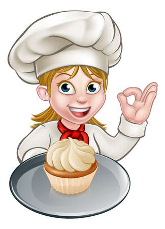 A woman chef or baker cartoon character holding a plate with a cupcake or fairy cake on it