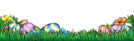 An Easter egg hunt Background border frame or footer graphic Illustration