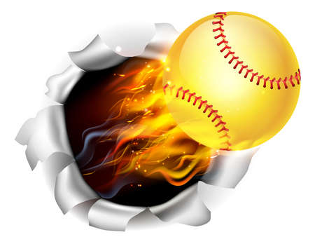 An illustration of a burning flaming yellow Softball ball on fire tearing a hole in the background