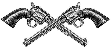 A pair of crossed pistol guns in a vintage etched engraved style Illustration