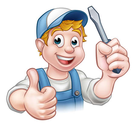 An electrician handyman cartoon character holding a screwdriver and giving a thumbs up