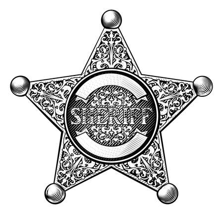 Sheriff star badge in a vintage etched engraved style Illustration