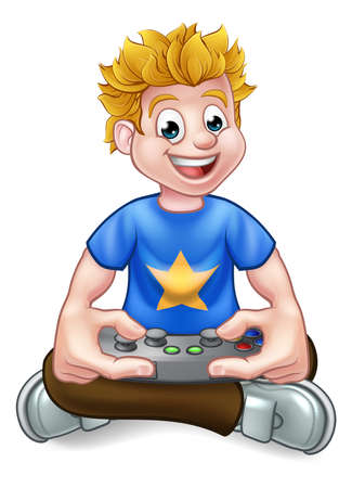A cartoon gamer having fun playing video games Ilustrace