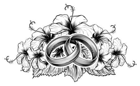 A pair of intertwined wedding rings or bands and hibiscus flowers in vintage etching engraved style