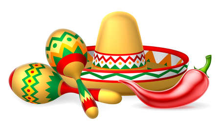 A Mexican sombrero hat, red chilli pepper and maracas shakers illustration Stock Illustratie