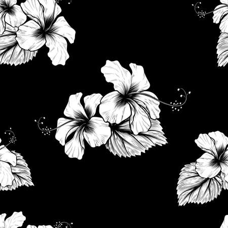 A tropical hibiscus flowers seamless background pattern