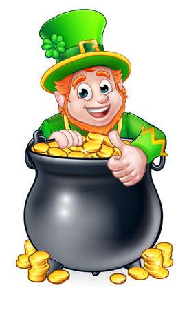 金の鍋の上に覗く漫画レプラコーン セントパトリックスデイ文字