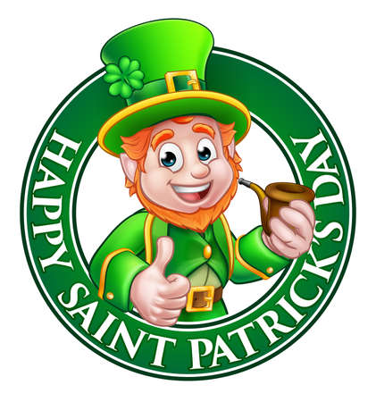 Cartoon Leprechaun character in a circle reading happy St Patricks Day giving a thumbs up and holding a pipe