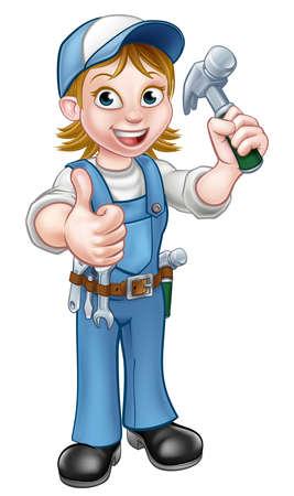 Un bricoleur femme personnage de dessin animé charpentier femme tenant un marteau et de donner pouces vers le haut Vecteurs