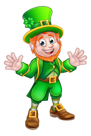 Cartoon Leprechaun St Patricks Day character mascot