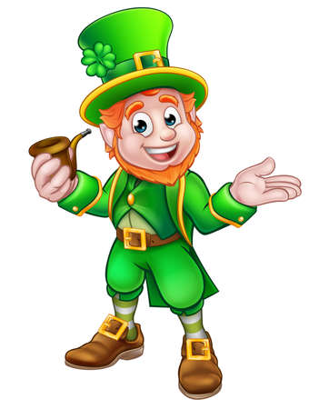 Cartoon Leprechaun St Patricks Day character holding a pipe