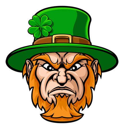 Tough cartoon Leprechaun St Patricks Day character or sports mascot