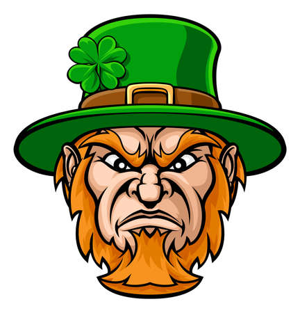 Tough cartoon Leprechaun St Patricks Day character or sports mascot