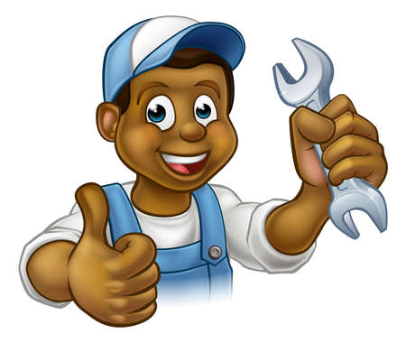 A black handyman mechanic or plumber cartoon character holding a spanner and giving a thumbs up
