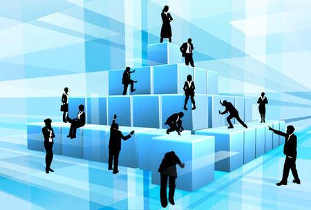 ビジネスマンのシルエットが一緒に巨大なビルディング ブロックの構造を作る作業のチーム。チームワークのためのコンセプト