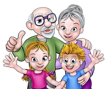 Petits-enfants dessin animé avec leurs grands-parents grand-père et grand-mère Vecteurs