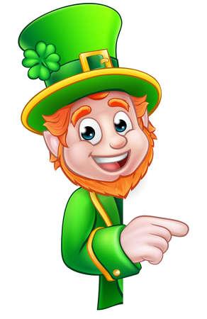 Cartoon Leprechaun St Patricks Day character peeking around a sign and pointing Illustration