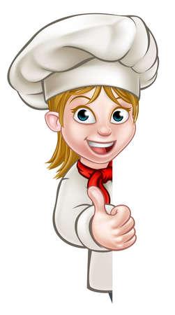 Chef de dibujos animados o carácter panadero de la mujer que da los pulgares para arriba y que mira a escondidas alrededor de muestra o de fondo Ilustración de vector