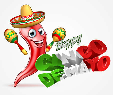 A Happy Cinco De Mayo design with red chilli pepper cartoon character in sombrero hat holding maracas shakers