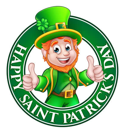 Cartoon Leprechaun character in a circle reading happy St Patricks Day and giving a thumbs up 免版税图像 - 71598133