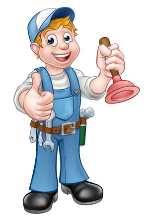 A plumber handyman cartoon character holding a plunger and giving a thumbs up