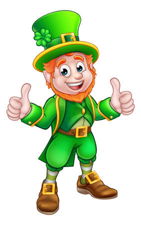 A cartoon Leprechaun St Patricks Day character giving a double thumbs up Stock Illustratie