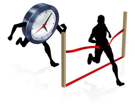 Un hombre que corre contra un personaje reloj superando a la meta y ganar la carrera Ilustración de vector