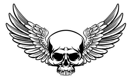 A winged skull drawing in a vintage retro woodcut etched or engraved style