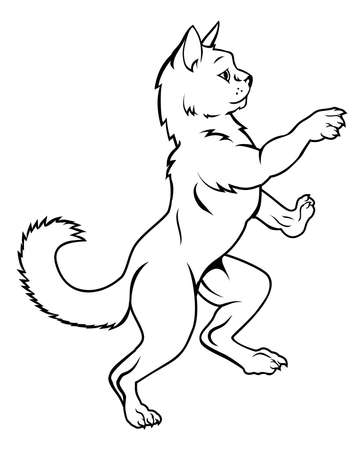 A cat pet animal standing on hind legs in a heraldic rampant coat of arms pose Vettoriali