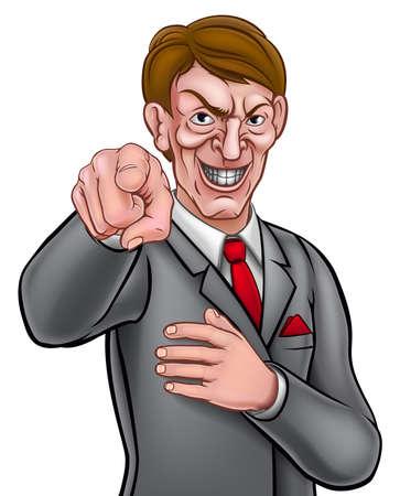 L'homme d'affaires malvoyant dans un costume et une cravate pointé son doigt dans un besoin que vous gestez Vecteurs