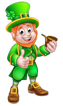 Cartoon Leprechaun St Patricks Day character holding a pipe and giving a thumbs up