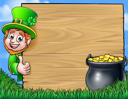 A Cartoon Leprechaun character leaning around a wooden sign and giving thumbs up with a pot of gold. St Patricks Day background
