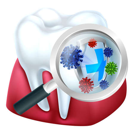 Tooth and gum being protected from bacteria by a shield viewed through a magnifying glass