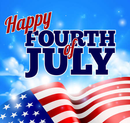 Happy Fourth of July Independence Day background with a sky and American Flag