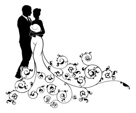 Wedding concept of bride and groom wedding couple in silhouette with a white bridal wedding dress abstract floral pattern gown