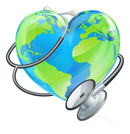 Conceptual illustration of an earth heart world globe with a stethoscope wrapped around it.