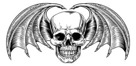 A winged skull drawing with bat or dragon wings in a vintage retro woodcut etched or engraved style