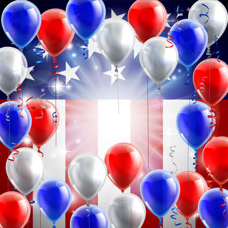An American flag patriotic or political design background with red, white and blue balloons