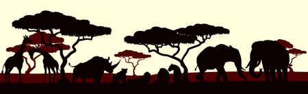 An African safari animal silhouette scene landscape Vektorové ilustrace