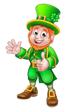 Cartoon Leprechaun St Patricks Day character waving and giving a thumbs up