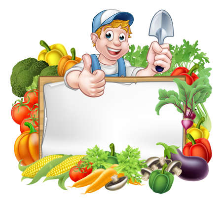A cartoon gardener holding a gardening tool and giving a thumbs up with a sign surrounded by vegetables and fruit garden produce Illustration