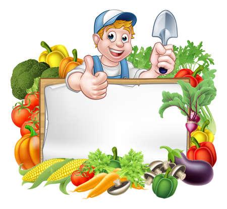 Un jardinero de dibujos animados con una herramienta de jardinería y dando un pulgar hacia arriba con un signo rodeado de verduras y hortalizas de frutas Foto de archivo - 72665727