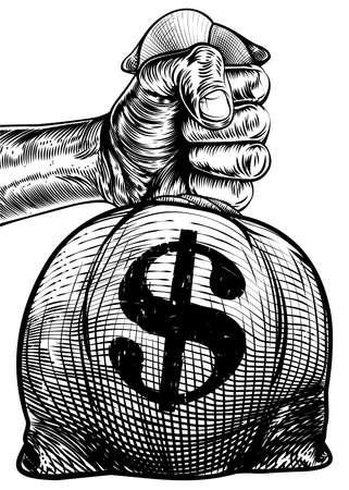 Mano sosteniendo una bolsa de arpillera o bolsa de dinero en un estilo retro vintage grabado de madera grabada o grabada con un signo de dólar Ilustración de vector