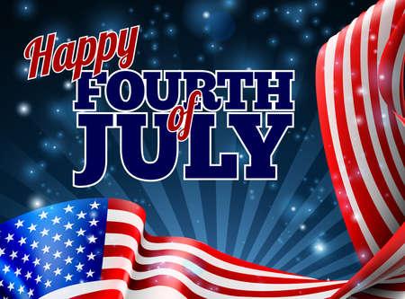 Ein vierten Juli-Unabhängigkeitstag Hintergrund mit einem amerikanischen Flagge Grenze Design